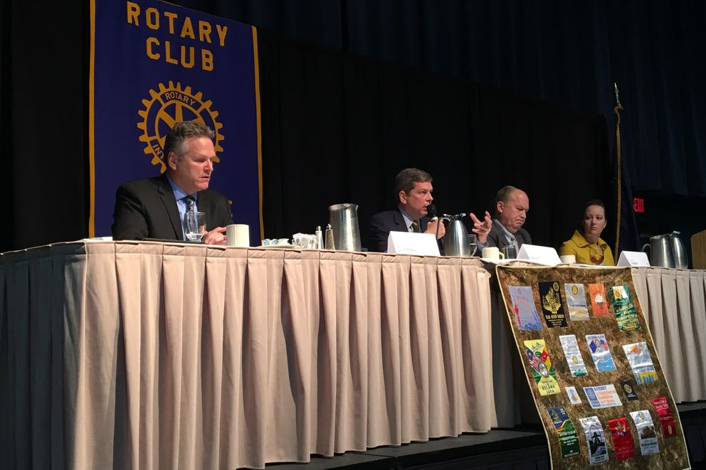 Candidates for Alaska governor face off at a forum Tuesday hosted by the Anchorage Rotary Club. From left to right the candidates are: Mike Dunleavy, Mark Begich and Gov. Bill Walker. (Tegan Hanlon / ADN)