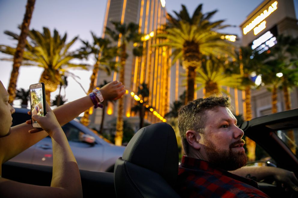 Brian MacKinnon drives the rented convertible BMW in Las Vegas two days after he died in MacKinnon's arms. (Marcus Yam/Los Angeles Times/TNS)