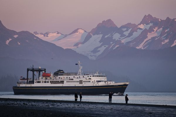 The M/V Tustumena, a 296-foot ferry of the Alaska Marine Highway System, departs Homer on Thursday evening, September 1, 2016. The Tusty route also includes towns on Kodiak Island, the Alaska Peninsula and the Aleutian Islands. (Marc Lester / Anchorage Daily News)