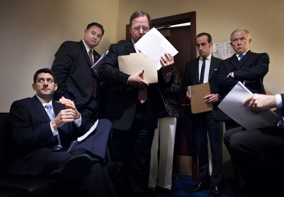 In March 2012, House Budget Committee Chairman Paul Ryan, R-Wis., meets with Reps. Frank Guinta, R-NH, Bill Flores, R-Texas, staffer Stephen Miller and Sen. Jeff Sessions, R-Ala., before unveiling a 2013 budget plan on Capitol Hill. (Washington Post photo by Melina Mara)
