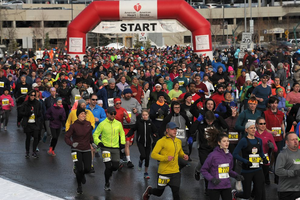 3,400 runners and walkers participated in the 2019 Heart Run winding its way through the University of Alaska Anchorage and Alaska Pacific University campuses on Saturday April 20, 2019. (Photo by Bob Hallinen)