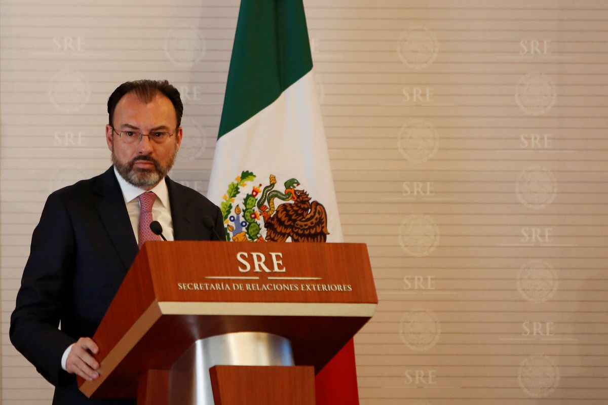Mexico's Foreign Minister Luis Videgaray addresses the audience during a meeting between Mexico and the United Nations on human rights in Mexico City on Wednesday. REUTERS/Jose Luis Gonzalez