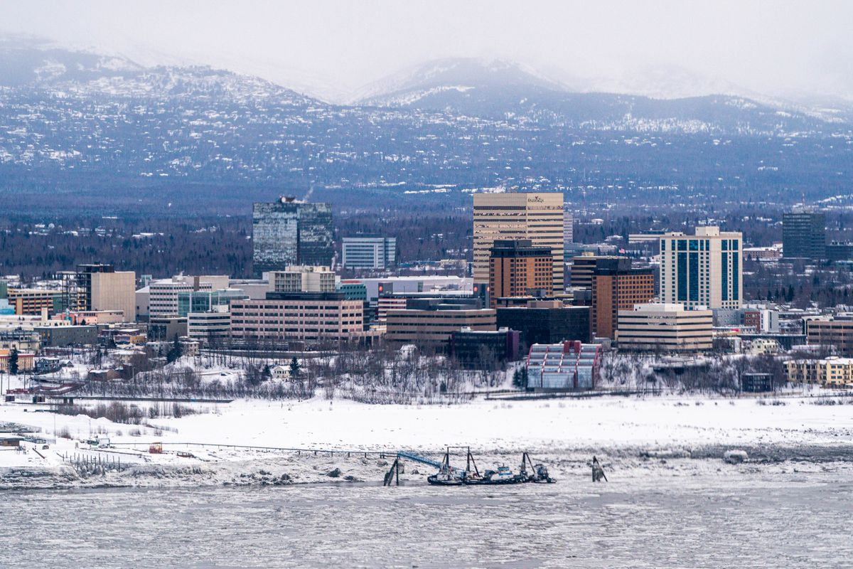 Downtown Anchorage, photographed on Sunday, March 14, 2021. (Loren Holmes / ADN)