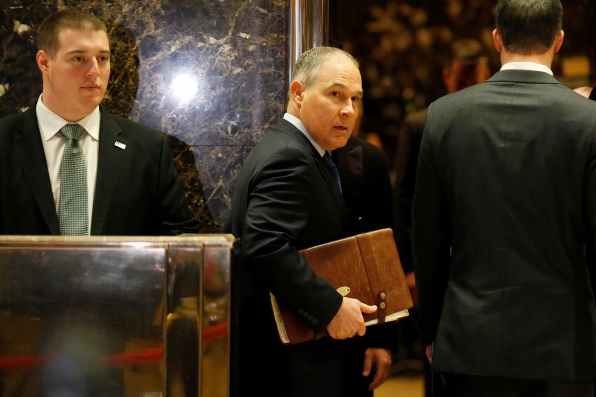 Scott Pruitt, attorney general of Oklahoma, arrives to meet with President-elect Donald Trump at Trump Tower inNew York City, December 7, 2016. REUTERS/Brendan McDermid