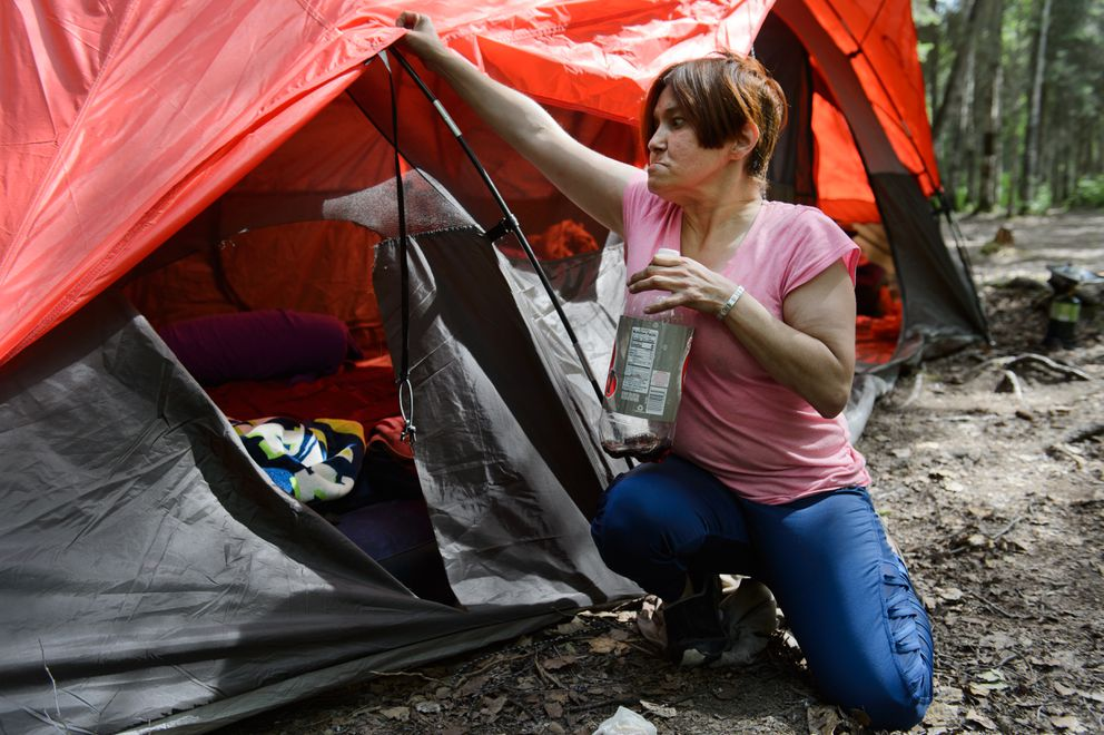 Melanie Ritter said a bear ripped a hole in her tent at Centennial Park Campground earlier this week. The bear took a bottle of soda. The rest of her food was in her vehicle, she said. Fish and Game killed four black bears at the campground on July 18, 2018. (Marc Lester / ADN)