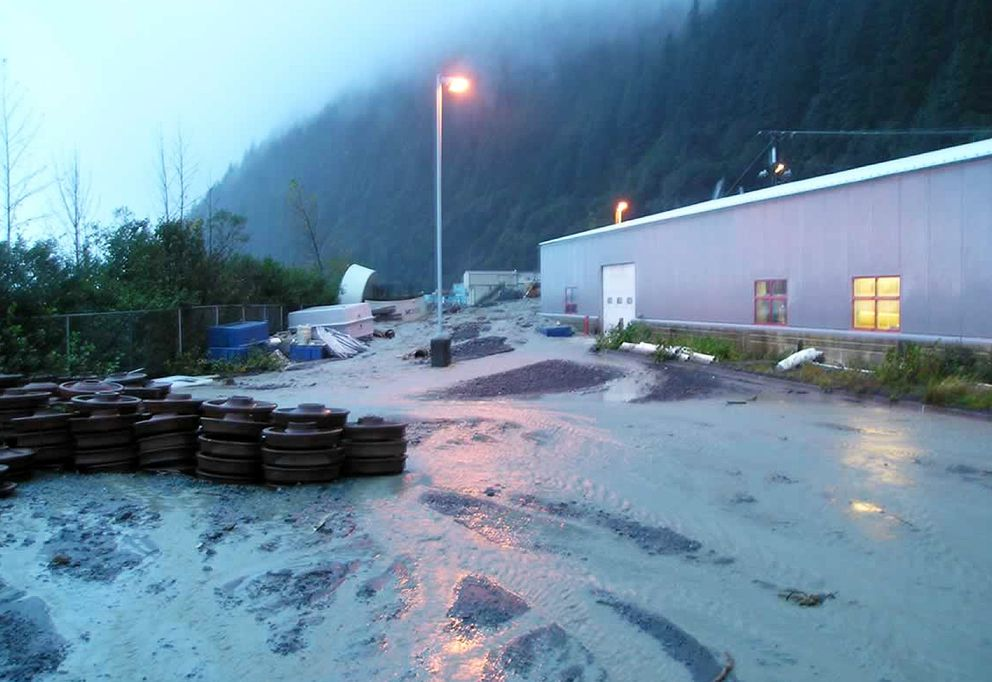 This October, 2006 photo shows flooding at the Alutiiq Pride Shellfish Hatchery in Seward, Alaska, from overflow from a nearby flood-diversion tunnel. The tunnel is part of Seward's antiquated flood-control system, and is among those rated as high-hazard in the state because of the potential for loss of life if they failed. The Lowell Creek dam complex was examined in an Associated Press review of such dams across the country. (Jeff Hetrick/Alutiiq Pride Shellfish Hatchery via AP)