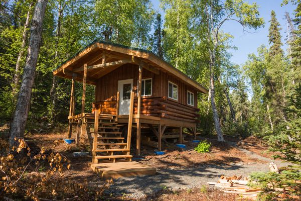 A new public use cabin, under construction on the south shore of Eklutna Lake, photographed on Thursday, August 20, 2015. (LOREN HOLMES / Alaska Dispatch News)