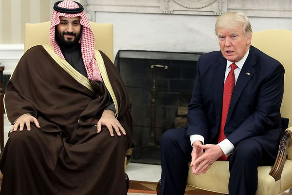 Crown Prince Mohammed bin Salman of Saudi Arabia meets with President Donald Trump in the Oval Office on March 14, 2017.