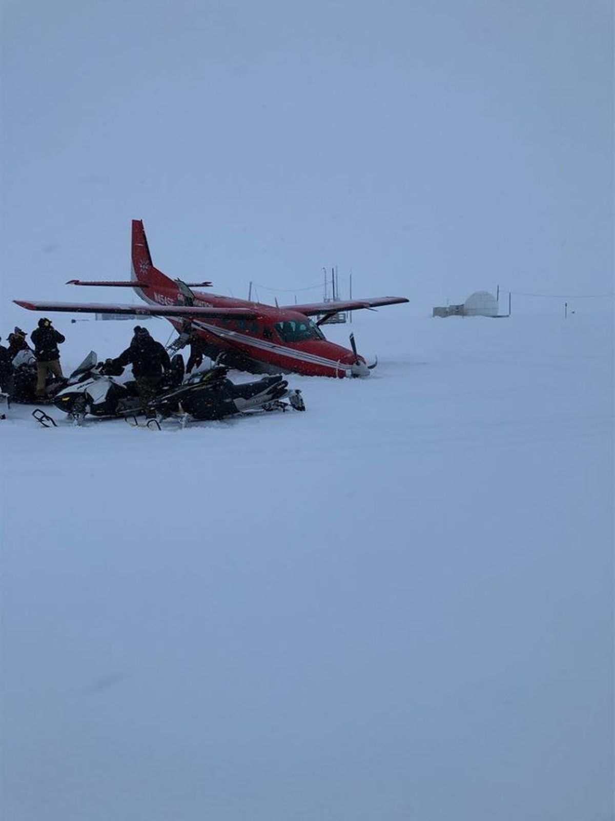 A Grant Aviation plane crashed during takeoff in Hooper Bay on Feb. 4, 2020. None of the eight people on the plane were injured. Photo by Caleb Funk
