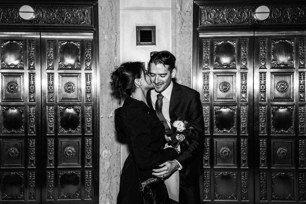 Ashley Volk and Sam Siatta on their wedding day in Chicago, Oct. 31, 2017. (Devin Yalkin/The New York Times)