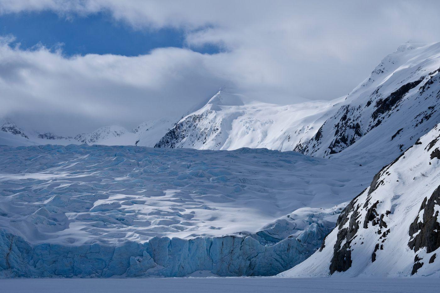 Portage Glacier under a partly cloudy sky on April 3, 2020. (Marc Lester / ADN)