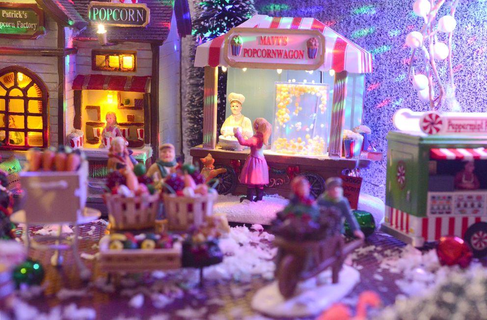 Nate Baer's miniature Christmas village. (Anne Raup / ADN)