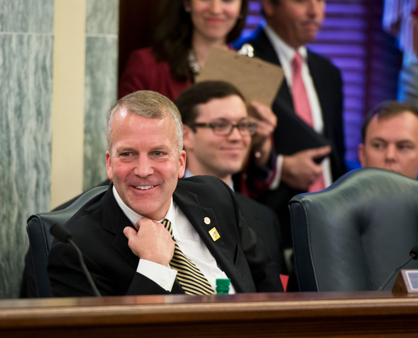 Sen. Dan Sullivan listens to discussion in a Commerce, Science and Transportation Committee meeting on Thursday, June 25, 2015. (Marc Lester / Alaska Dispatch News )