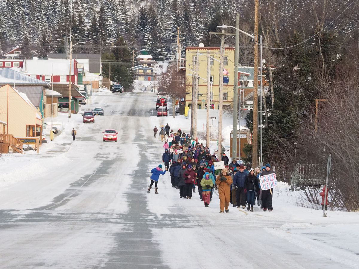 An estimated 150-170 people participated in the Women's March in HainesonJan. 21. (John Hagen)