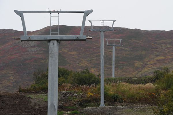 Ski lift towers have been placed for the triple chair being installed at the Skeetawk alpine ski area in Hatcher Pass on Thursday, Sept. 12, 2019. The nonprofit ski area plans to begin operating this winter.(Bill Roth / ADN)