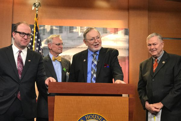 From left, congressmen Jared Polis (D-Colorado), Earl Blumenauer (D-Oregon), Don Young (R-Alaska), Dana Rohrabacher (R-California) at a press conference announcing the formation of the House Cannabis Caucus on Feb. 16, 2017 in Washington, D.C. (Erica Martinson / Alaska Dispatch News)
