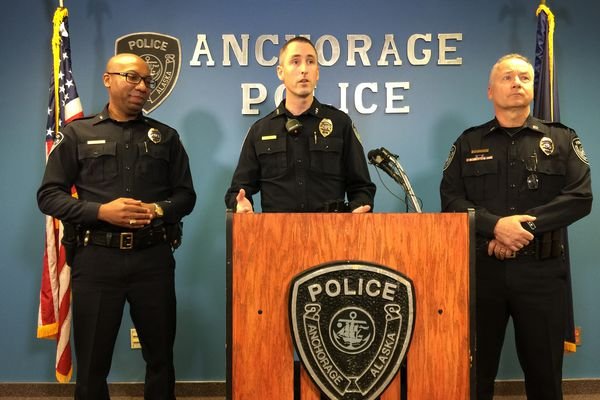 APD Chief Justin Doll talks at the press conference Tuesday morning, Oct. 3, 2017 about the crime suppression initiative the department is rolling out. (Bill Roth / Alaska Dispatch News)