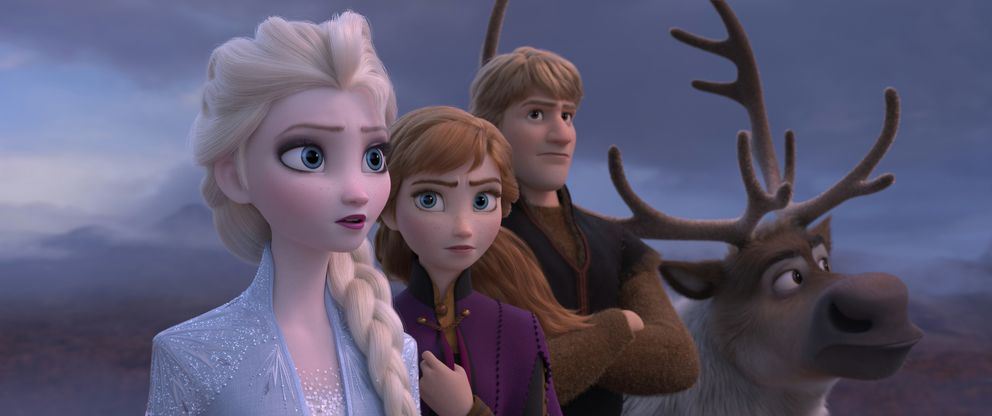 This image released by Disney shows Elsa, voiced by Idina Menzel, from left, Anna, voiced by Kristen Bell, Kristoff, voiced by Jonathan Groff and Sven in a scene from the animated film, 'Frozen 2. ' (Disney via AP)