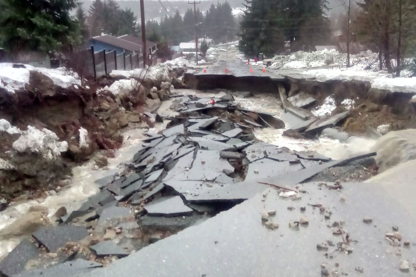 Many roads have been heavily damaged in Haines after heavy rain and flooding, Dec. 2, 2020. (Photo provided by Darwin Feakes)