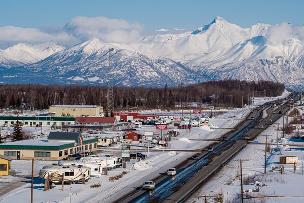 Vehicles drive along the Palmer-Wasilla Highway on Wednesday, March 17, 2021 in Wasilla. (Loren Holmes / ADN)