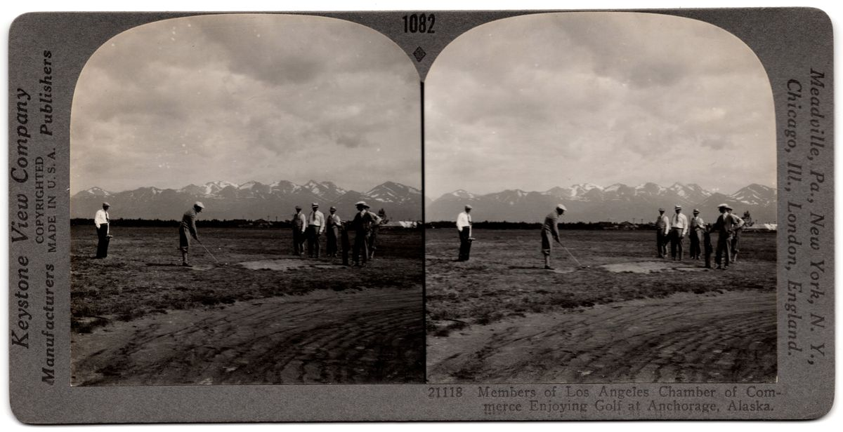 "Circa 1930s Keystone View Company, stereoview card #1082, ""A Game of Golf at Anchorage, Alaska."" (From the collection of David Reamer)"