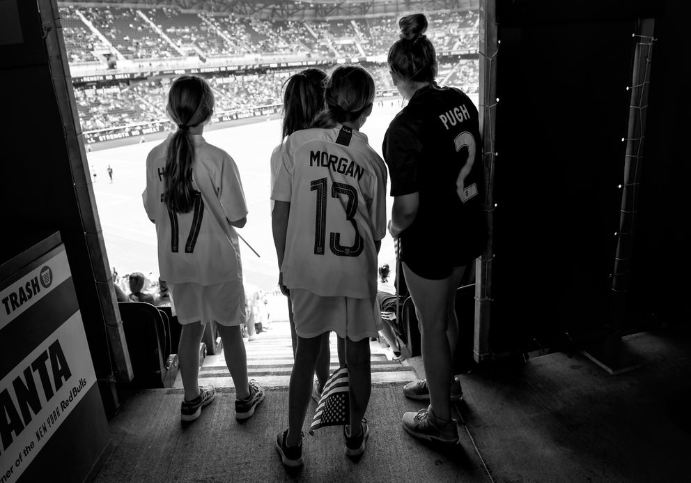Young fans watch as the teams warm up before a soccer match between the U.S. and Mexico on May 26, 2019. (Washington Post photo by Toni L. Sandys)