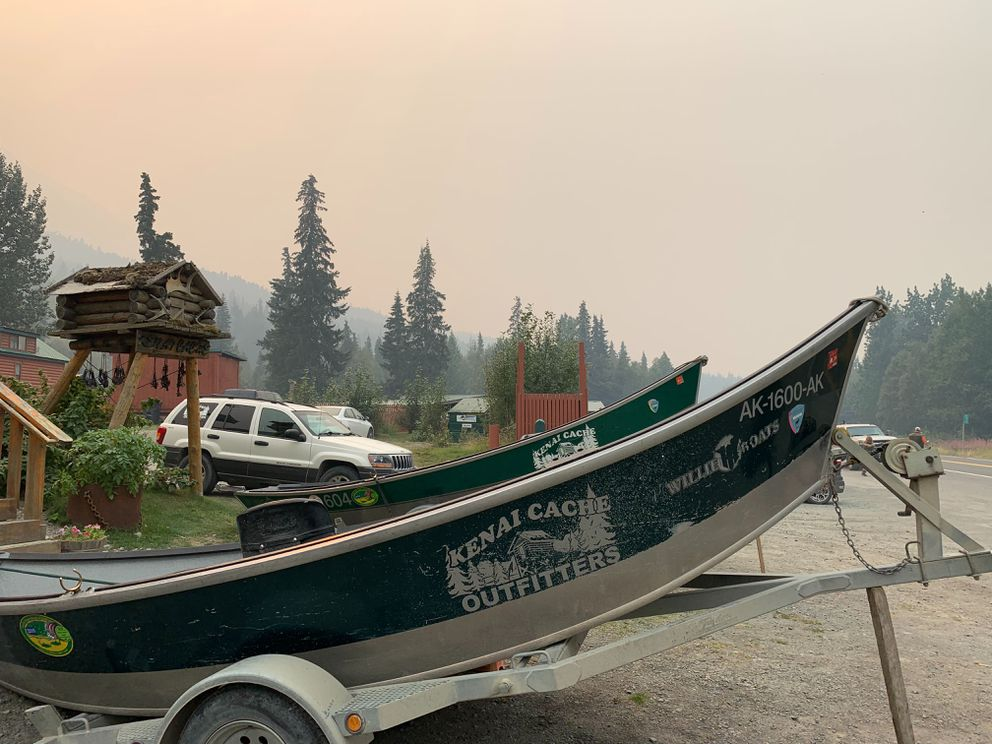 Smoke in Cooper Landing Sunday, Aug. 18, 2019, from the Swan Lake wildfire. (Jeff Parrot / ADN)