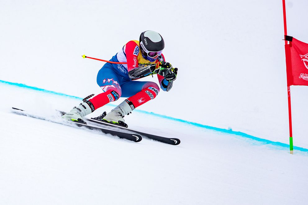 Finnigan Donley skis to the U16 victory and the overall victory in the Alyeska Cup super-G race in February. (Photo by Bob Eastaugh)