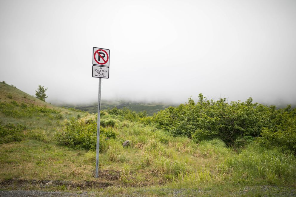 A new sign prohibits parking on Honey Bear Circle in Bear Valley. (Loren Holmes / Alaska Dispatch News)