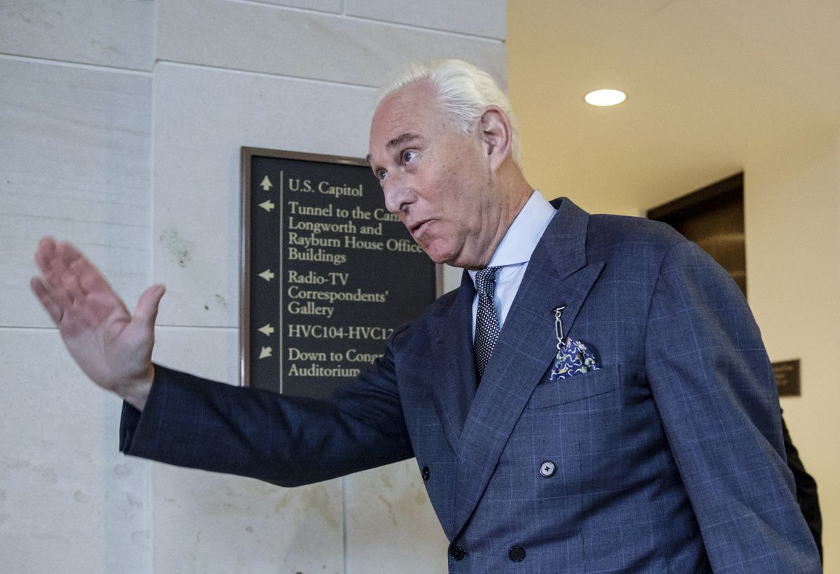 FILE - In this Sept. 26, 2017, file photo, Roger Stone arrives to testify before the House Intelligence Committee, on Capitol Hill in Washington. Newly released emails from the 2016 presidential campaign appear to show Stone presenting himself as a WikiLeaks insider to Steve Bannon, who was at the heart of then-candidate Donald Trump's run for president. (AP Photo/J. Scott Applewhite, File)