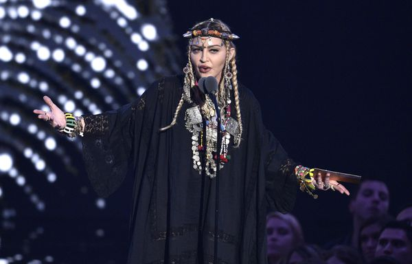 Madonna presents a tribute to Aretha Franklin at the MTV Video Music Awards at Radio City Music Hall on Monday, Aug. 20, 2018, in New York. (Photo by Chris Pizzello/Invision/AP)