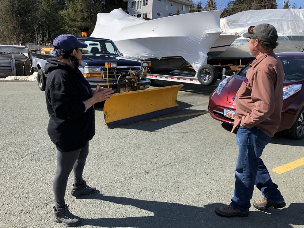 Dale and Stacy Smith, seen at a Juneau marina on Friday, April 17, 2020, spent their life's savings to start a tourism business. In March, Dale was diagnosed with terminal cancer, and weeks later, cruise ship companies began canceling sailings amid the coronavirus pandemic. At background is one of their tour boats, still wrapped in plastic from winter storage. (James Brooks / ADN)