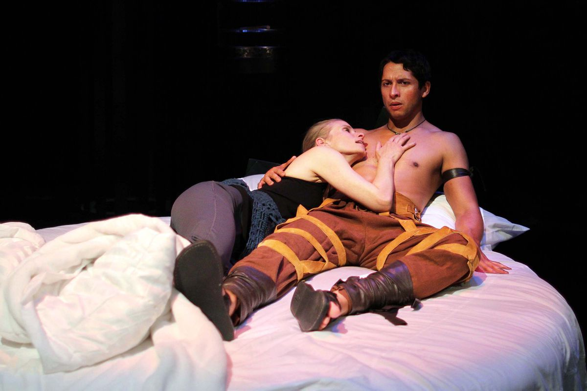 Shelley Virginia plays Woman and Enrique Bravo plays Jason in the Perseverance Theatre production of Not Medea. (Akiko Rotch)