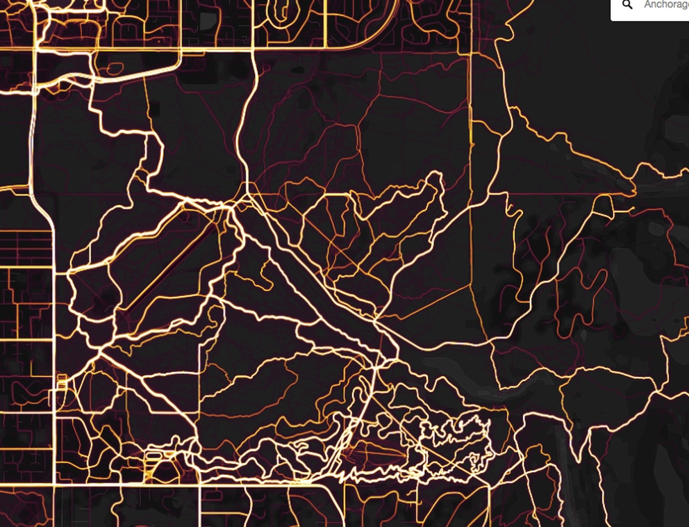 Heat map showing bike use on trails in Far North Bicentennial Park and the Campbell Tract areas of East Anchorage using the Strava app.