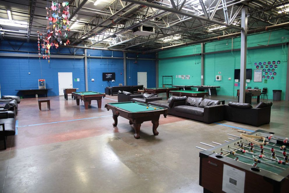 Children can play pool and foosball in a rec room at Casa Padre. MUST CREDIT: U.S. Department of Health and Human Services