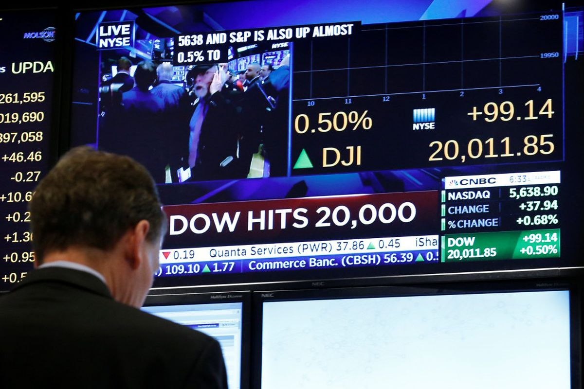 A screen shows the Dow Jones Industrial Average after it passes the 20,000 mark shortly after the opening of the trading on the floor of the New York Stock Exchange January 25, 2017. REUTERS/Brendan McDermid