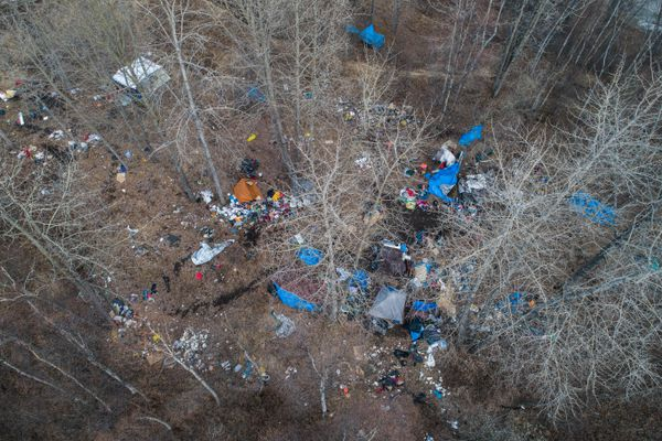 A homeless camp near the Brother Francis Shelter on Thursday, April 26, 2018. (Loren Holmes / ADN)