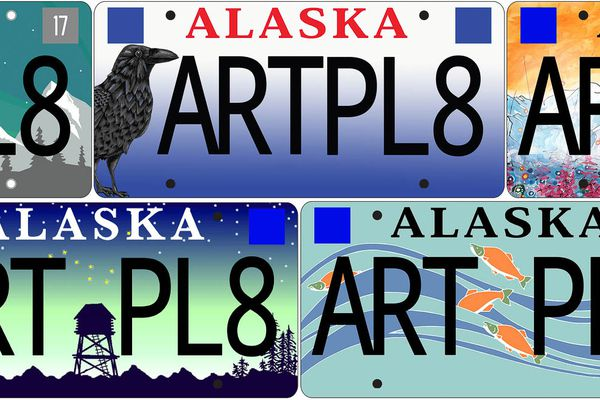 Five finalists are being voted on for the Alaska Artistic License Plate. The designs feature Alaskan imagery, including Denali, a raven, aurora, a cache, and spawning salmon. (Alaska State Council on the Arts)