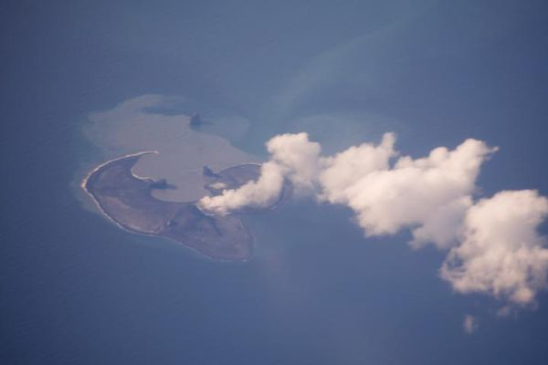 Bogoslof volcano steams on June 22, 2017, (before the June 24 explosions). (Photo by Cyrus Read, @USGSVolcanoes / Alaska Volcano Observatory)