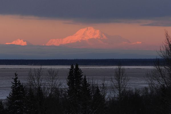 The sun sets on Denali on Wednesday afternoon, Dec. 28, 2016, in a view from Kincaid Park. (Erik Hill / ADN)
