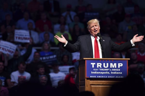 Republican presidential candidate Donald Trump addresses his supporters during a rally at the Indiana Farmers Coliseum on April 27, 2016 in Indianapolis, Indiana.