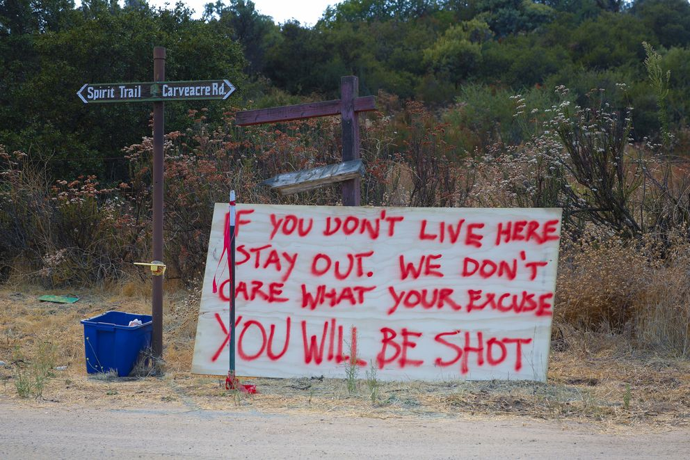 A warning sign is clearly posted in an area of homes not far off Japatul Road on Wednesday, Sept.9, 2020. (Nelvin C. Cepeda/The San Diego Union-Tribune/TNS)