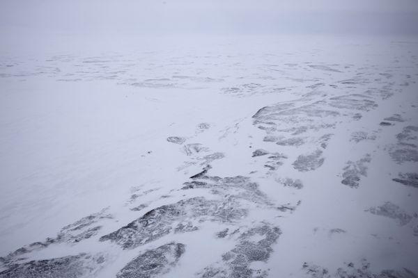 An aerial view of Alexandra Land island of the Franz Josef Land archipelago, Russia, Monday, May 17, 2021. (AP Photo/Alexander Zemlianichenko)