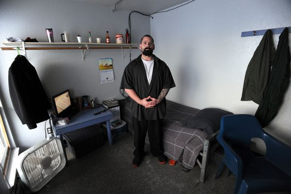 Mark Wellman shows his room following an early shift working in the kitchen as a baker during an open house at Cordova Center transitional facility on Thursday, Jan. 12, 2017, downtown. (Erik Hill / Alaska Dispatch News)