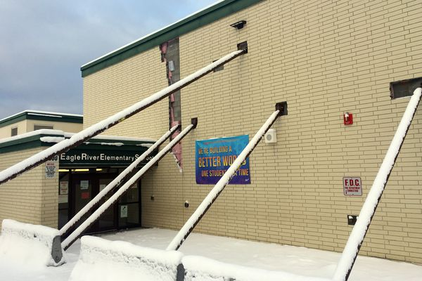 Temporary supports prop up the walls at Eagle River Elementary School, which was severely damaged in the Nov. 30, 2018 earthquake. On Tuesday, Jan. 22, 2019, the Anchorage School District announced both Eagle River Elementary and Gruening Middle School will be closed for the 2019-20 school year. (Star photo by Matt Tunseth)