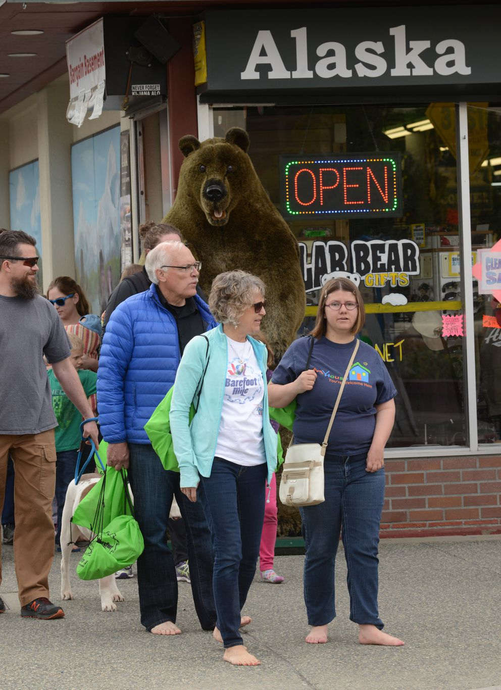 The Barefoot Mile walk was a fundraiser for Priceless Alaska, Covenant House, MyHouse and Joy International. (Bob Hallinen / Alaska Dispatch News)