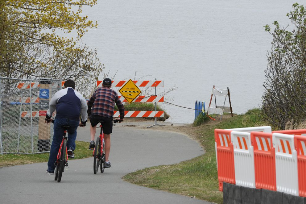 Point Woronzof bluff erosion is encroaching on the Tony Knowles Coastal Trail on Monday, May 13, 2019. (Bill Roth / ADN)
