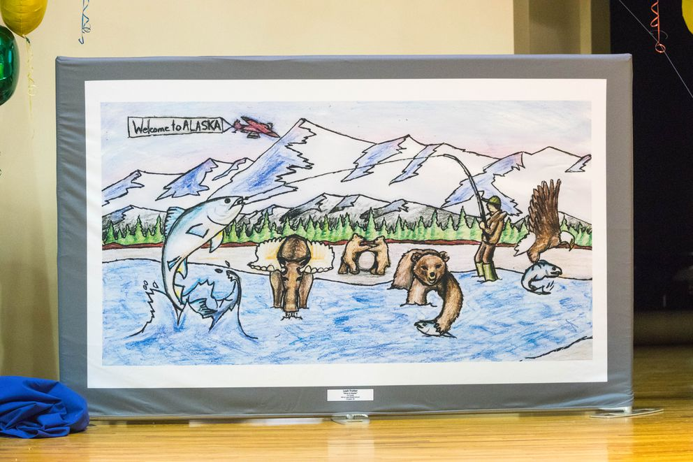 "Seventh-grader Jazzie Trotter's entry ""Alive in Alaska"" features an outdoors theme, incorporating iconic wildlife and fishing into the scene. (Loren Holmes / ADN)"
