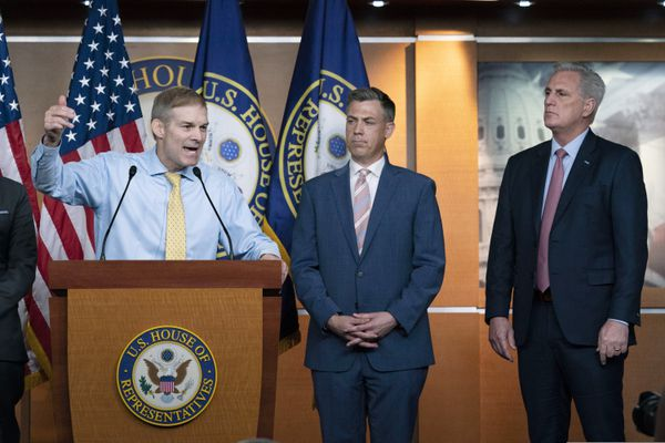 Rep. Jim Jordan, R-Ohio, speaks during a news conference as Rep. Jim Banks, R-Ind., and House Minority Leader Kevin McCarthy, R-Calif., looks on at Capitol Hill, in Washington, Wednesday, July 21, 2021. Pelosi is rejecting two Republicans tapped by House GOP Leader Kevin McCarthy to sit on a committee investigating the Jan. 6 Capitol insurrection. She cited the