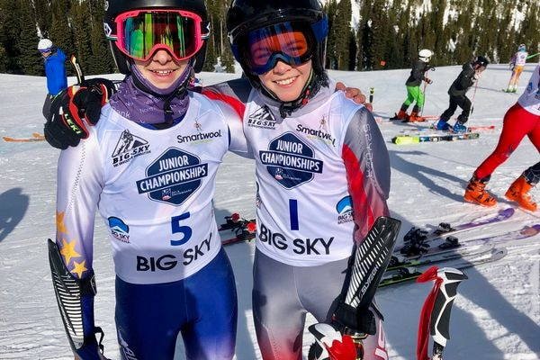 Daniel Ferucci, left, and Finnigan Donley gave Alaska a 1-2 finish Saturday at the U14 Western Regional alpine ski championships in Big Sky, Montana. Donley won the race and Ferucci placed second on March 23, 2019. (Photo courtesy of Shannon Donley)